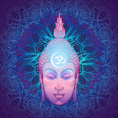 Buddhas head with a sacred om symbol glowing on his forehead. Placed on the decorative floral background. EPS10 vector illustration Ilustração