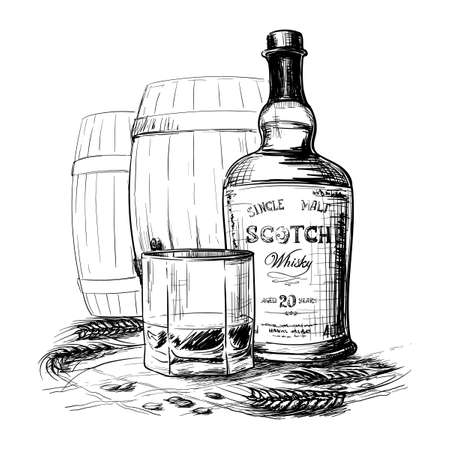 Scotch whiskey bottle, glass and casks with some barley ears and grains. Black and white ink style drawing isolated on white background. EPS10 vector illustration.