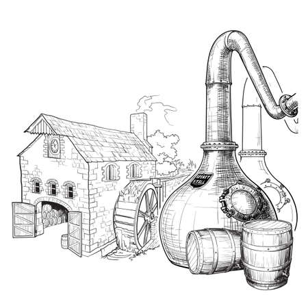 Whiskey from grain to bottle. A Swan necked copper Stills, oak casks used for aging and a watermill on a background. Black and white ink style drawing isolated on white background. EPS10 vector. Illustration