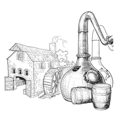 Whisky desde el grano hasta la botella. Un alambique de cobre de cuello de cisne, toneles de roble utilizados para el envejecimiento y un molino de agua sobre un fondo. Dibujo de estilo de tinta blanco y negro aislado sobre fondo blanco. Eps10 vector.