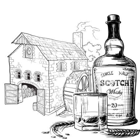 Whiskey from grain to bottle. Scotch whiskey bottle, glass with some barley ears and grains. Water mill on the background. Black and white ink style drawing isolated on white background. EPS10 vector.