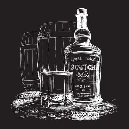 Scotch whiskey bottle, glass and casks with some barley ears and grains. White linear sketch isolated on Black background. Imitates chalk drawing on a black board. EPS10 vector illustration. Ilustração