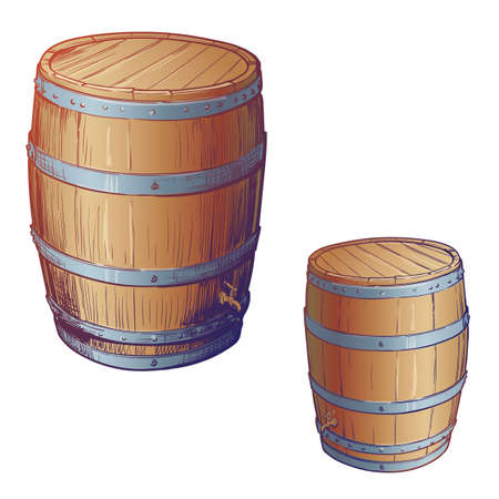 Whiskey making from grain to bottle. An oak cusk for aging whisky. Painted sketch. EPS10 vector illustration.