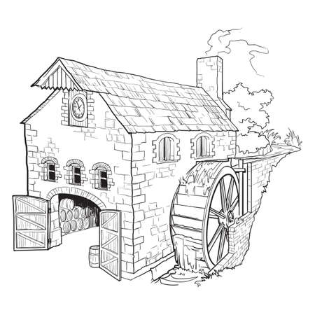 Whiskey making process from grain to bottle. A watermill. Black and white ink style drawing isolated on white background. EPS10 vector illustration.