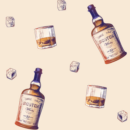 Whiskey making process from grain to bottle. Scotch whiskey bottle, glass with some ice cubes. Seamless pattern. EPS10 vector illustration. Ilustração