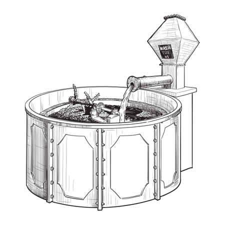 Whiskey making process from grain to bottle. A mash tun. Black and white ink style drawing isolated on white background. EPS10 vector illustration.