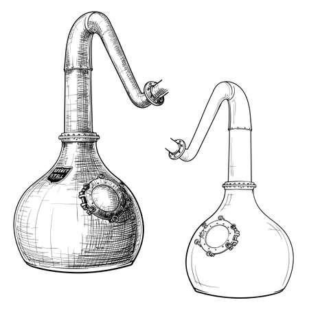 Proceso de elaboración del whisky desde el grano hasta la botella. Un alambique de cobre con cuello de cisne. Dibujo de estilo de tinta blanco y negro aislado sobre fondo blanco. Ilustración de vector Eps10.