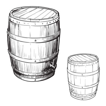 Whiskey making from grain to bottle. An oak cusk for aging whisky. Black and white ink style drawing isolated on white background. EPS10 vector illustration.