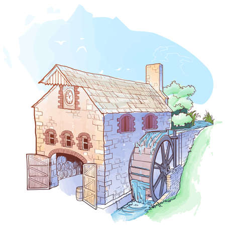 Whiskey from grain to bottle. A watermill. Sketch style drawing, watercolor painting, isolated on white background. EPS10 vector illustration. Ilustração