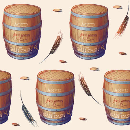 Whiskey making process from grain to bottle. Scotch whiskey oak cask with some barley ears and grains. Seamless pattern. EPS10 vector illustration. Ilustração