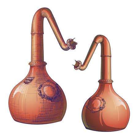 Whisky desde el grano hasta la botella. Un alambique de cobre con cuello de cisne. Dibujo de estilo boceto pintado. Ilustración de vector Eps10.