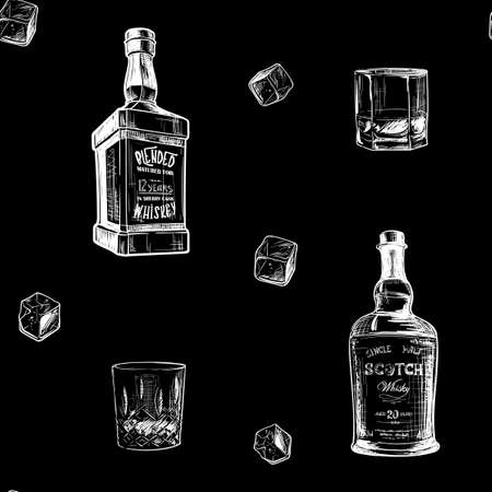 Ingredients for the best whiskey taste. Bottles, classes and ice cubes. Seamless pattern.   vector illustration. Ilustrace