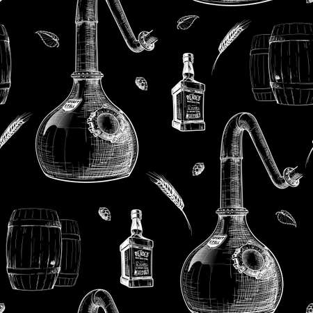Copper Still - a pot for spirits distillation with barely ears and bottles. Black and white drawing imitating chalk on a blackboard. Seamless pattern.   vector illustration.