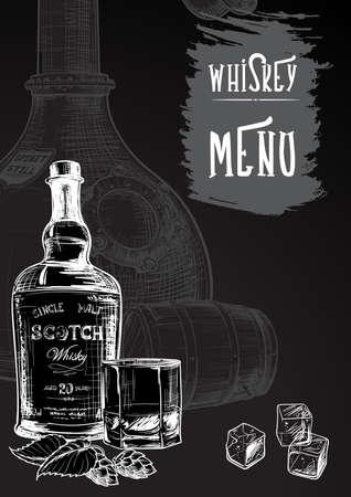 Menu modellato per le attività legate al whisky. Schizzo in bianco e nero che imita il disegno a gesso su una lavagna. Fondo di struttura di lerciume. Eps10 illustrazione vettoriale. Vettoriali