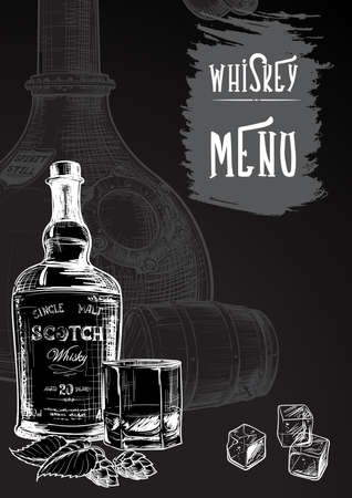 Menu templated for the whisky related businesses. Black and white sketch imitating chalk drawing on a blackboard. Grunge texture background. EPS10 vector illustration.