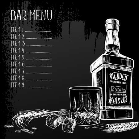 Menu templated for the whisky related businesses. Black and white sketch imitating chalk drawing on a blackboard. Grunge texture background. EPS10 vector illustration. Banco de Imagens - 131449378