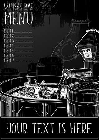 Menu templated for the whisky related businesses. Black and white sketch imitating chalk drawing on a blackboard. Grunge texture background. EPS10 vector illustration. Banco de Imagens - 131448222