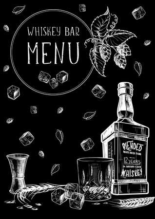 Menu templated for the whisky related businesses. Black and white sketch imitating chalk drawing on a blackboard. EPS10 vector illustration.