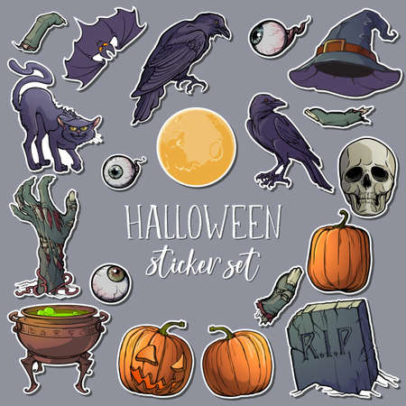 Halloween spooky sticker set. 21 original elements isolated on white background.   vector illustration