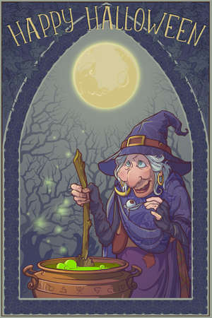 Old witch in a cone hat brewing a magic potion in a cauldron. Halloween cartoon style character. Linear drawing brightly colored and shaded. Misterious background and gothic frame. Greeting card Banco de Imagens - 131448450