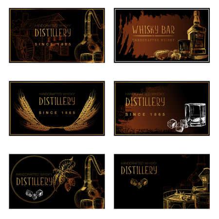 Set of business card templates for the whisky related businesses. Black and white sketch imitating chalk drawing on a blackboard.   vector illustration.