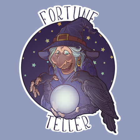 Old witch with her black raven holding a crystal ball and foretelling the future. Funny cartoon style character. Colored linear drawing isolated on a white background. Sticker.   vector.