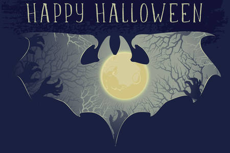 Moonlit haunted forest panorama cut out with a bat silhouette. Grunge texture effect. Spooky Halloween Greeting card. EPS10 vector illustration Banco de Imagens - 131449351