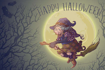 Halloween witch riding the broom through the moonlit forest of bare trees. Comic style intricate hand drawing. Halloween Greeting card. EPS10 vector illustration.