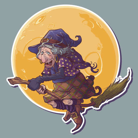 Halloween witch riding the broom Yellow moon on a background. Comic style intricate hand drawing. Halloween sticker. EPS10 vector illustration. Ilustração