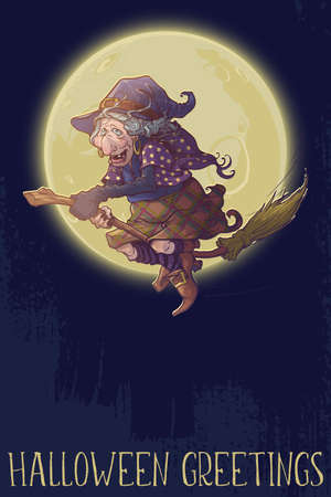 Halloween witch riding the broom through the night. Comic style intricate hand drawing. Halloween Greeting card. EPS10 vector illustration. Banco de Imagens - 131447399