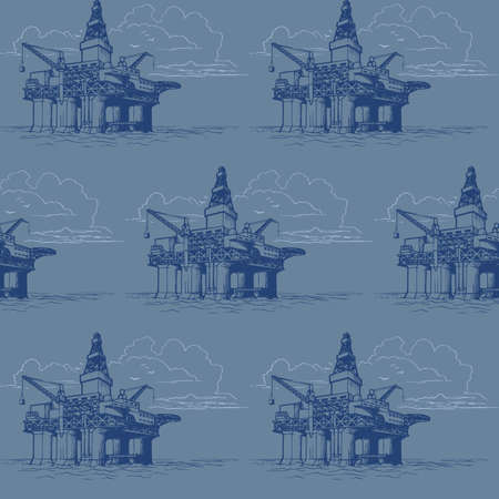 Oil and Gas industry. Exploration offshore drilling platform. Seamless pattern.