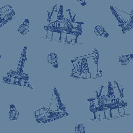 Oil and Gas industry. offshore platform Pumpjack and drill bits. Seampless pattern. Ilustrace