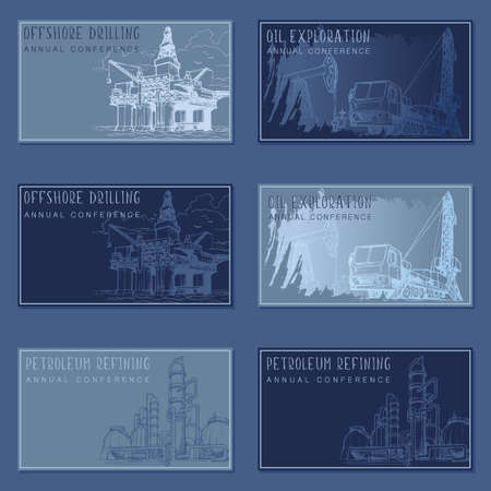 Oil and gas industry rectangular banner template set. visit cards template set. Ilustrace