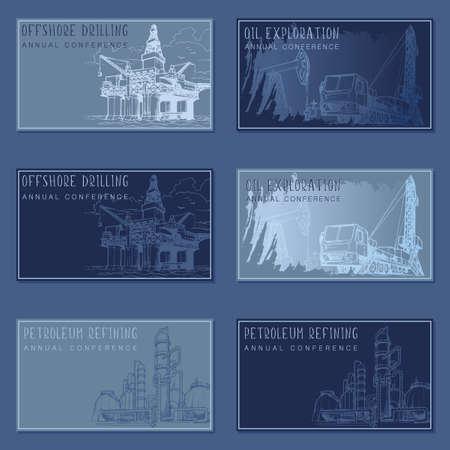 Rechteckiger Banner-Vorlagensatz für die Öl- und Gasindustrie. Vorlagensatz für Besuchskarten.
