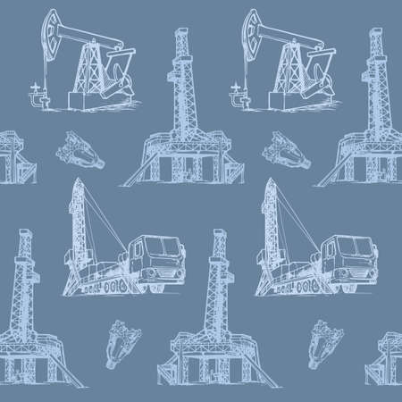 Oil and Gas industry. Stationary and mobile exploration drilling rigs. Seampless pattern.