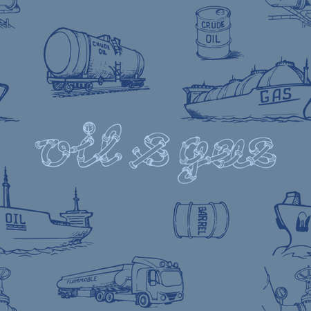 Oil and gas transportation. Ocean, railroad and road transport. Seamless pattern.