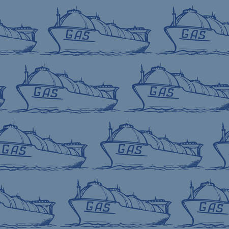 Liquefied gas transportation tanker. Seamless pattern.