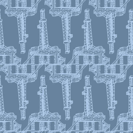 Oil and Gas industry. Exploration stationary drilling rig. Seamless pattern.