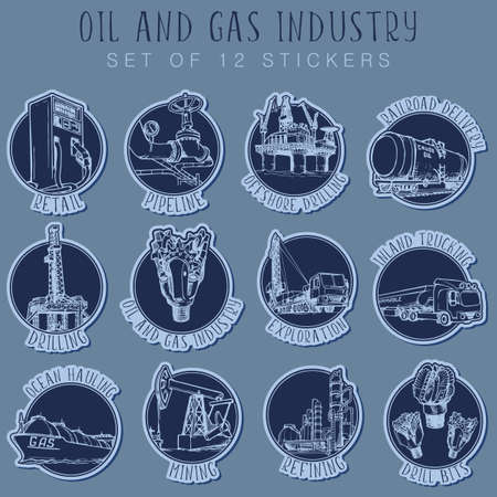 Oil and Gas infographic set. 12 sketch style pictograms with explaining signs represent various sectors of the petroleum industry. Sticker set.