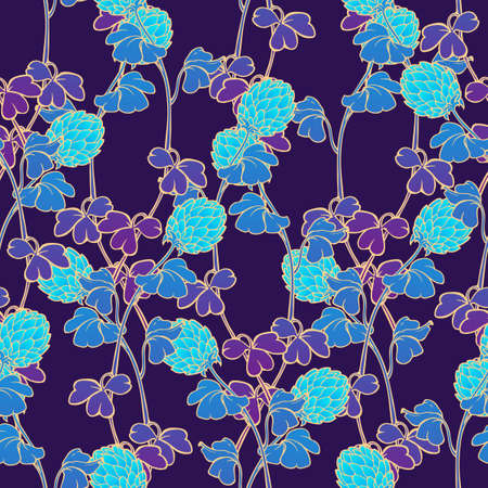 Neon Clover field seamless pattern. Cool psychodelic turquoise purple gamma. St. Patricks unconventional festive background Illustration