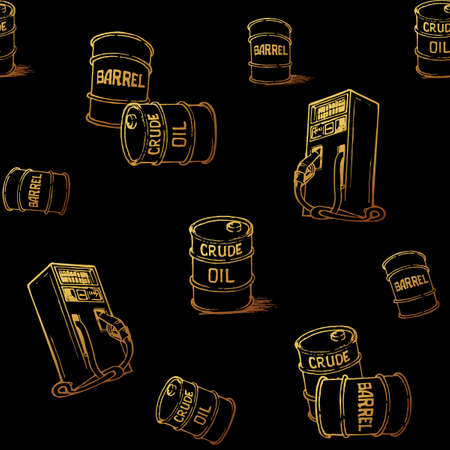 Oil and gas transportation. Barrels and retail gas pump. Gold on black. Seamless pattern. Ilustrace