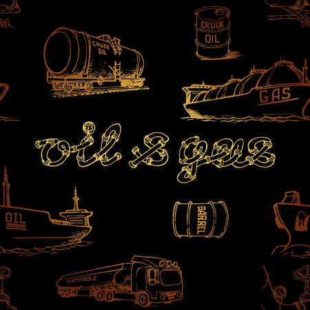 Oil and gas transportation. Ocean, railroad and road transport. Gold on black. Seamless pattern.