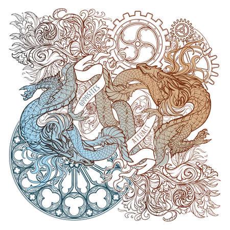Zwei Drachen, die gegeneinander kämpfen, veranschaulichen das Prinzip der Einheit der Gegensätze. Pflanzen- und gotische Schnörkel. Konzeptkunst komplizierte Strichzeichnung. Tattoo-Design. EPS10-Vektorillustration Vektorgrafik