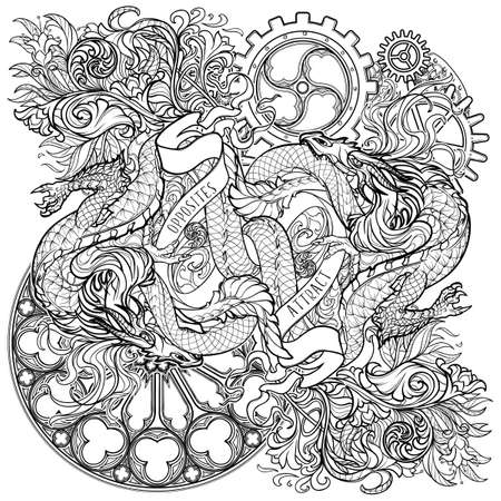 Two dragons fighting each other illustrating unity of opposites principle. Plant and gothic flourishes. Concept art intricate line drawing. Coloring book page. EPS10 vector illustration