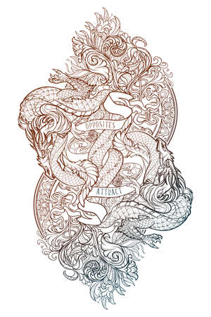 Two dragons fighting each other illustrating unity of opposites principle. Concept art intricate line drawing. Tattoo design. Vertical orientation, rectangular shape.