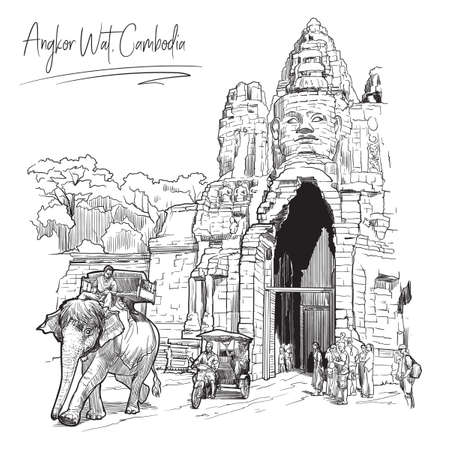 Buddha Gates in Angkor Wat, Cambodia. Linear sketch on a white background. Vintage design. Travel sketchbook drawing.