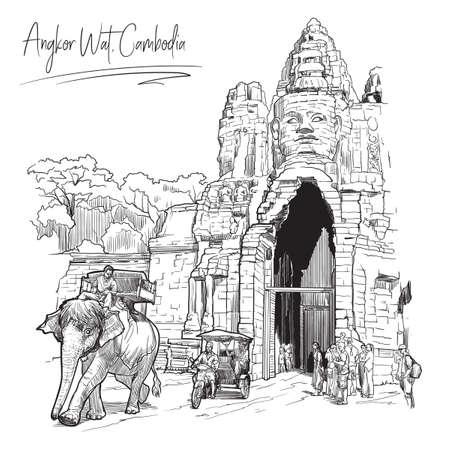Portes de Bouddha à Angkor Wat, au Cambodge. Croquis linéaire sur fond blanc. Conception vintage. Dessin de carnet de voyage.