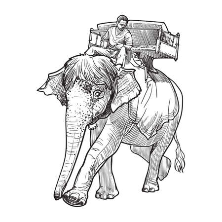 Elephany keeper or mahout riding an Indian elephant in Angkor Wat, Cambodia. Linear sketch on a white background. Vintage design. Travel sketchbook drawing. Ilustrace