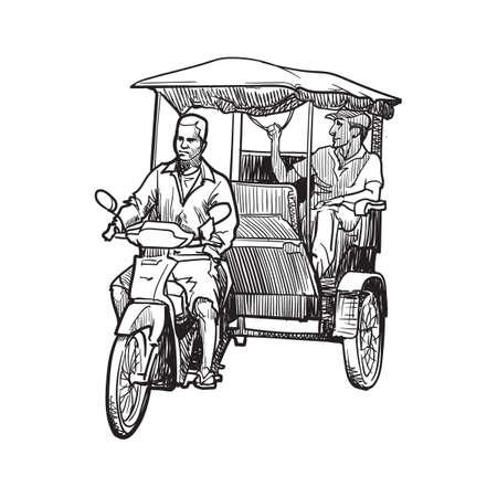 Chauffeur de tuk-tuk transport typiquement asiatique. Croquis linéaire sur fond blanc. Conception vintage. Dessin de carnet de voyage. Vecteurs
