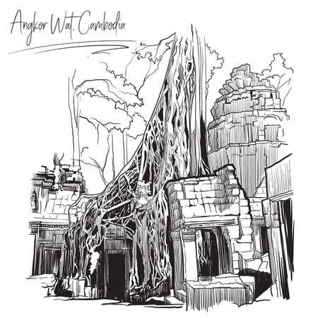 Rovine dell'antico tempio, distrutto dalle radici dell'alberoAngkor Wat, Cambogia. Schizzo lineare su sfondo bianco. Disegno d'epoca. Disegno di quaderno di schizzi di viaggio.